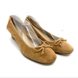 Hush Puppies Shoes Ballet Wedge Suede Beige 8M